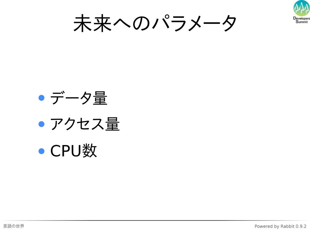 言語の世界 Powered by Rabbit 0.9.2 未来へのパラメータ データ量 アク...