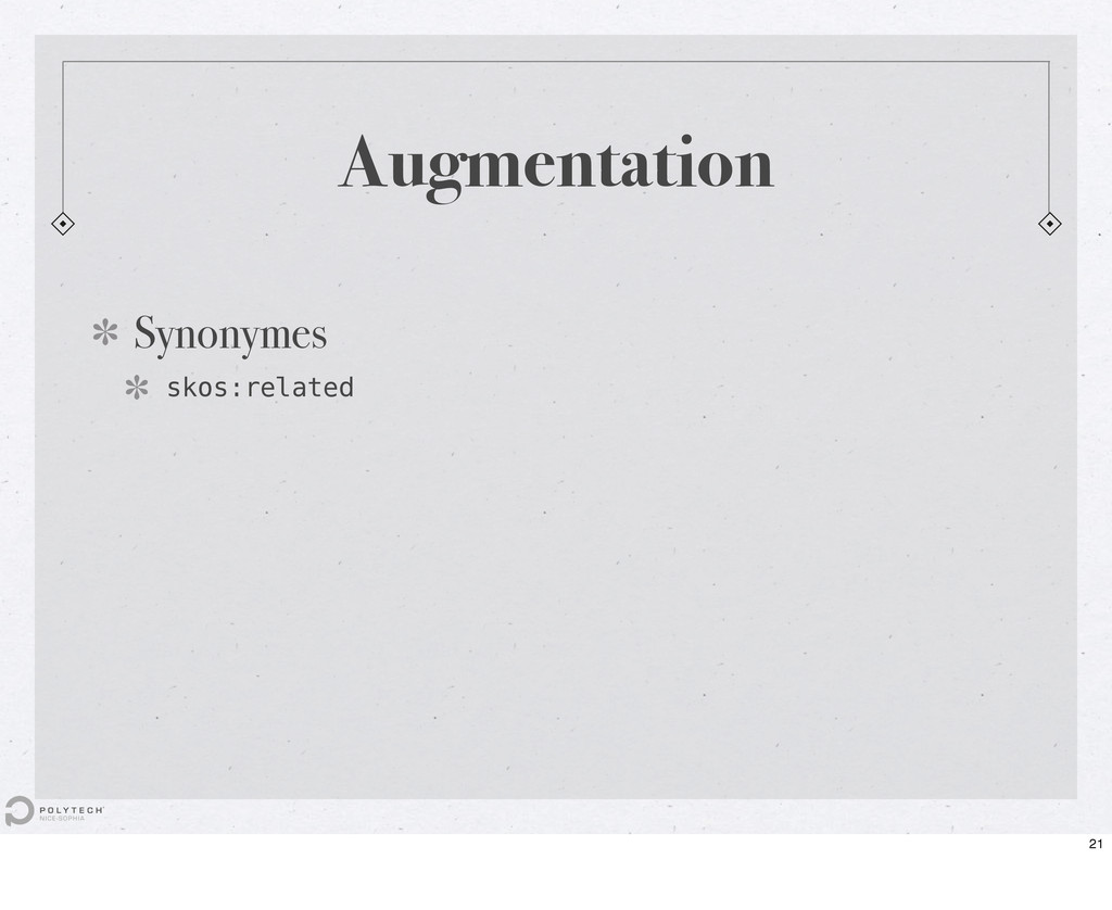 Augmentation Synonymes skos:related 21