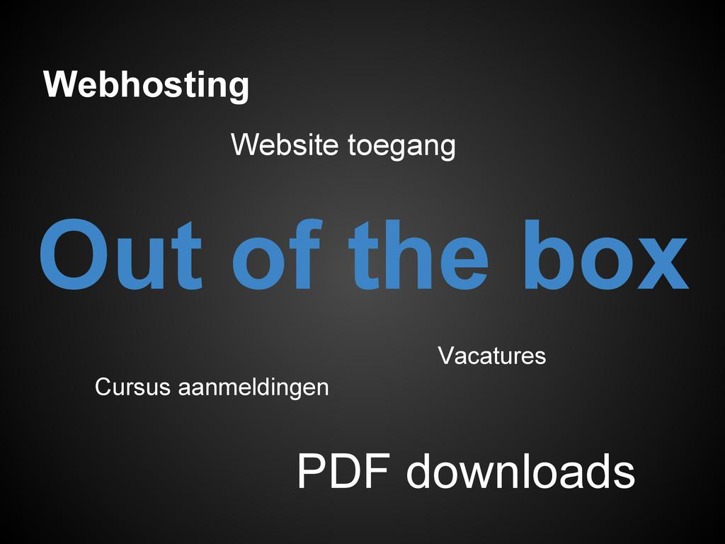 Webhosting Vacatures PDF downloads Website toeg...