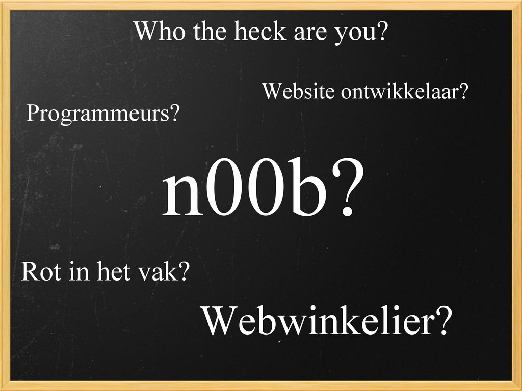 Who the heck are you? Webwinkelier? Programmeur...