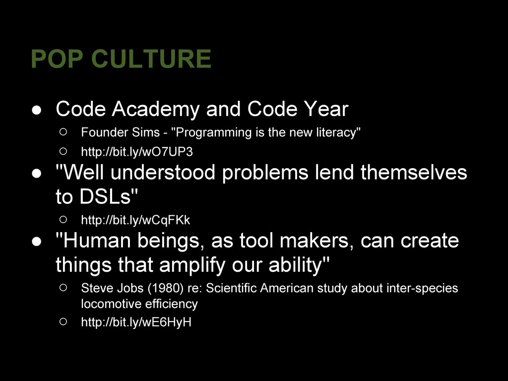 POP CULTURE ● Code Academy and Code Year ○ Foun...