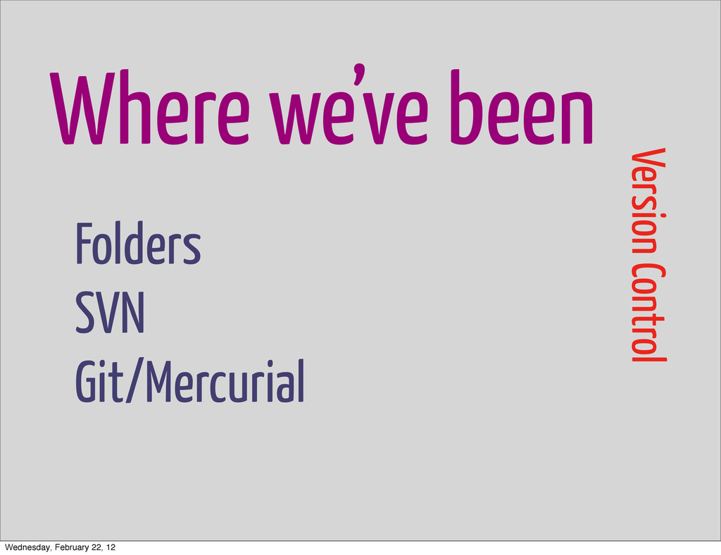 Where we've been Version Control Folders SVN Gi...