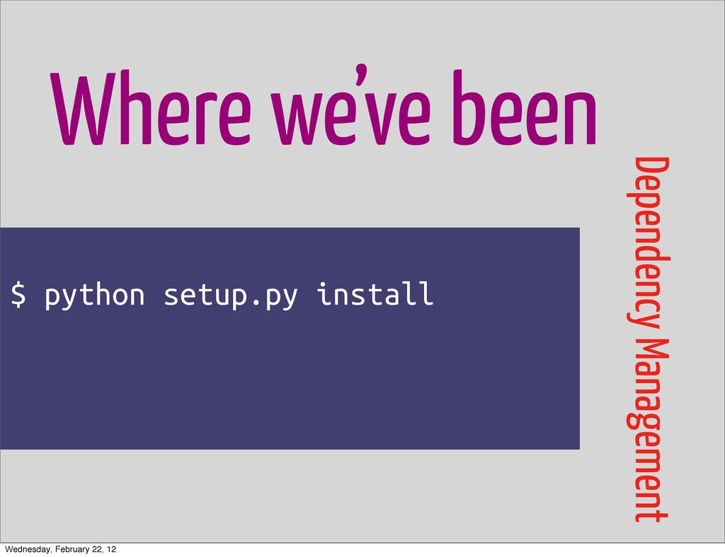 $ python setup.py install Where we've been Depe...
