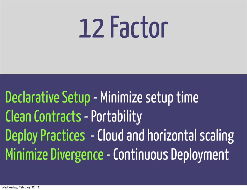 12 Factor Declarative Setup - Minimize setup ti...
