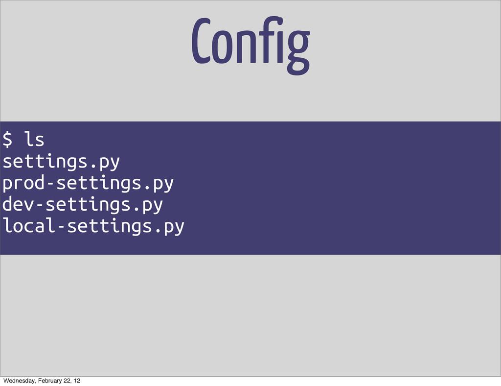 Config $ ls settings.py prod-settings.py dev-se...