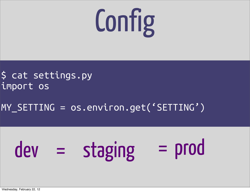 Config $ cat settings.py import os MY_SETTING =...