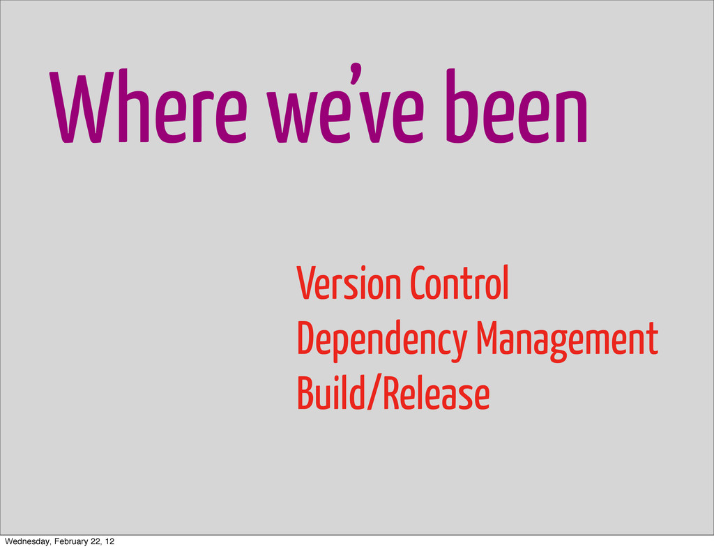 Where we've been Version Control Dependency Man...