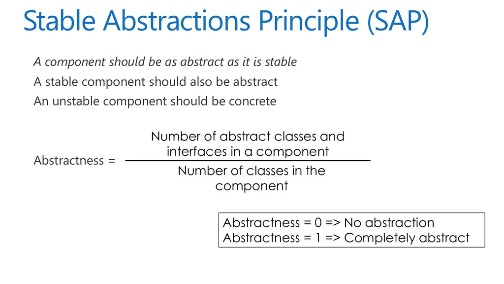 Stable Abstractions Principle (SAP) A component...