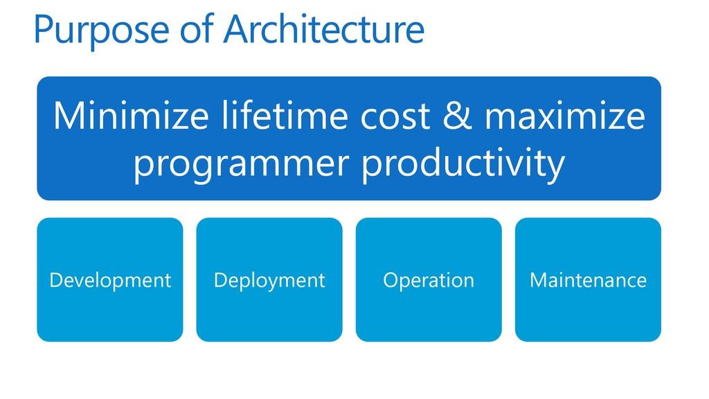 Purpose of Architecture Minimize lifetime cost ...