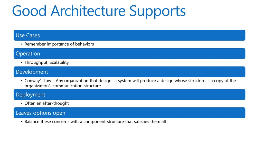 Good Architecture Supports Use Cases • Remember...