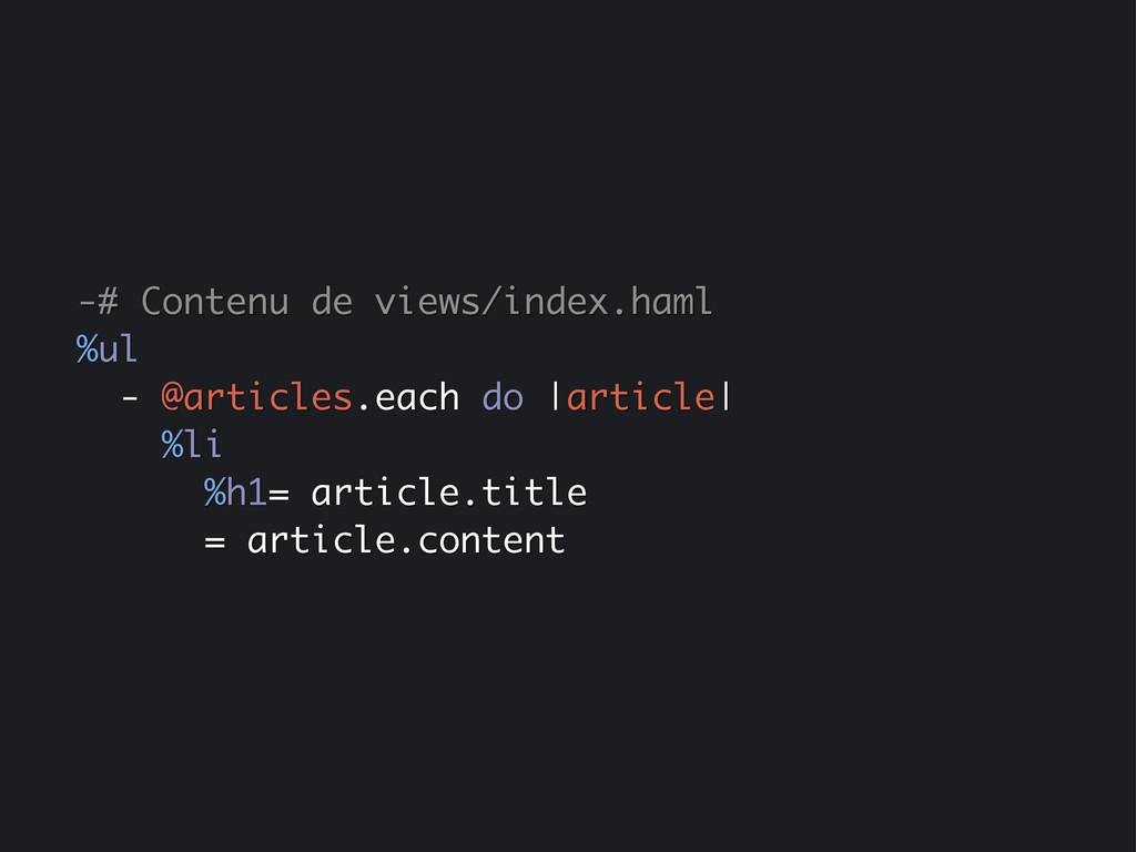 -# Contenu de views/index.haml %ul - @articles....