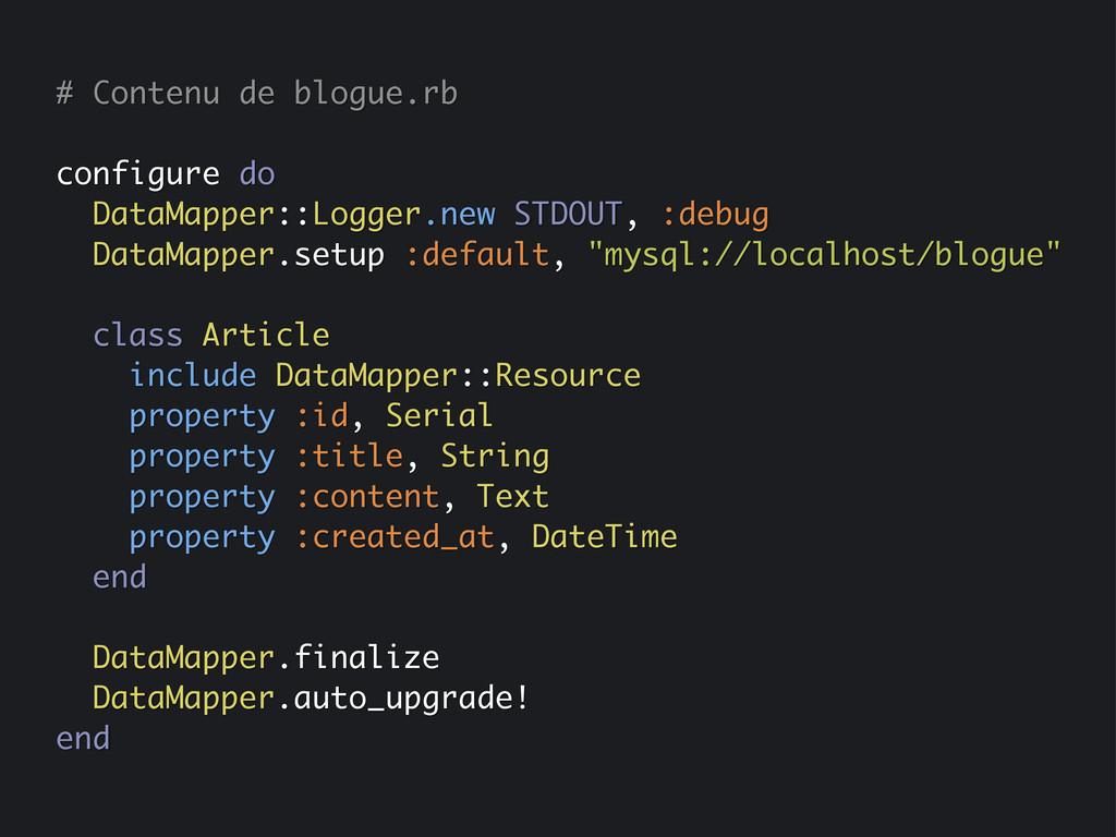 # Contenu de blogue.rb configure do DataMapper:...