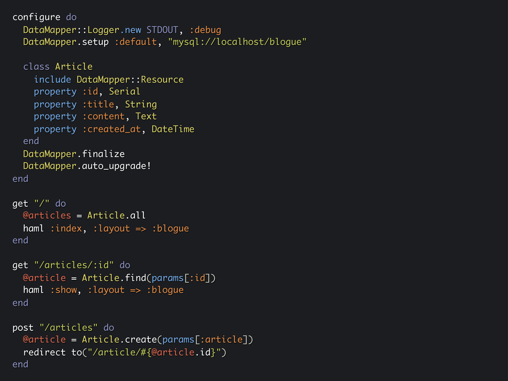 configure do DataMapper::Logger.new STDOUT, :de...