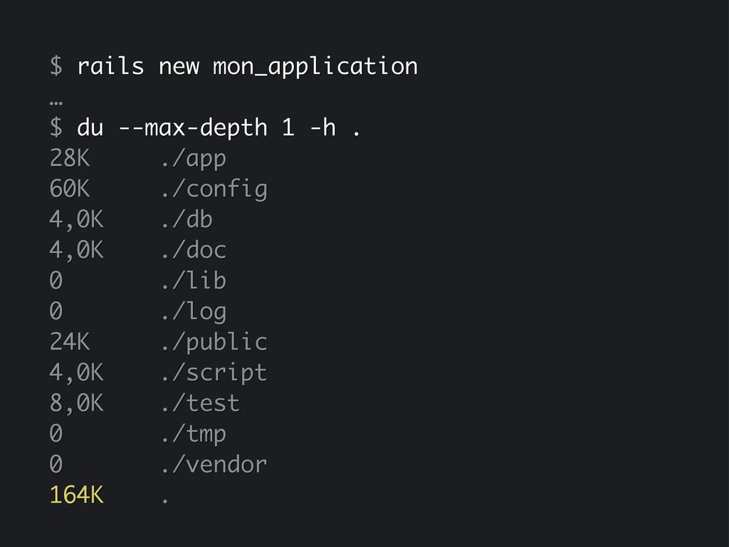 $ rails new mon_application … $ du --max-depth ...