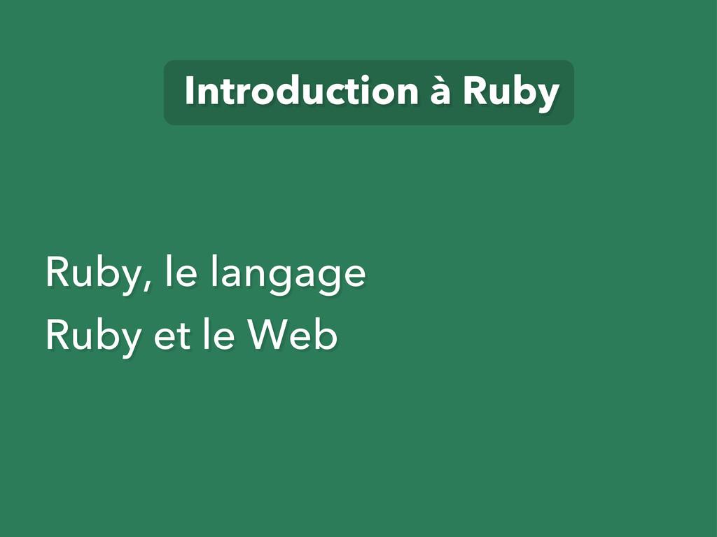 Ruby, le langage Ruby et le Web Introduction à ...