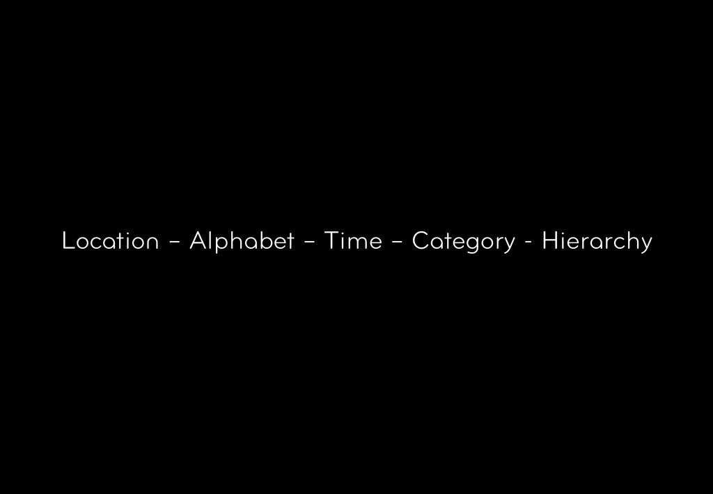 Location – Alphabet – Time – Category - Hierarc...
