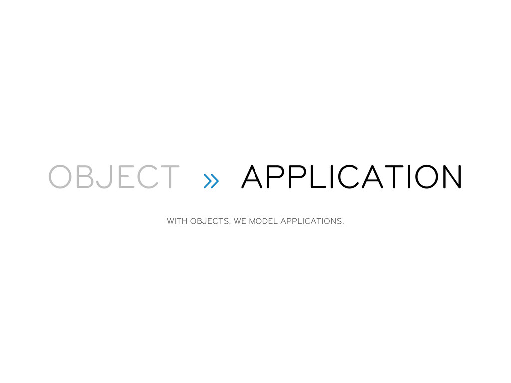 OBJECT » APPLICATION WITH OBJECTS, WE MODEL APP...