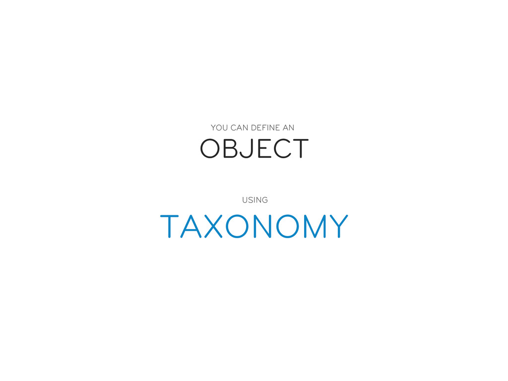 OBJECT TAXONOMY YOU CAN DEFINE AN  USING