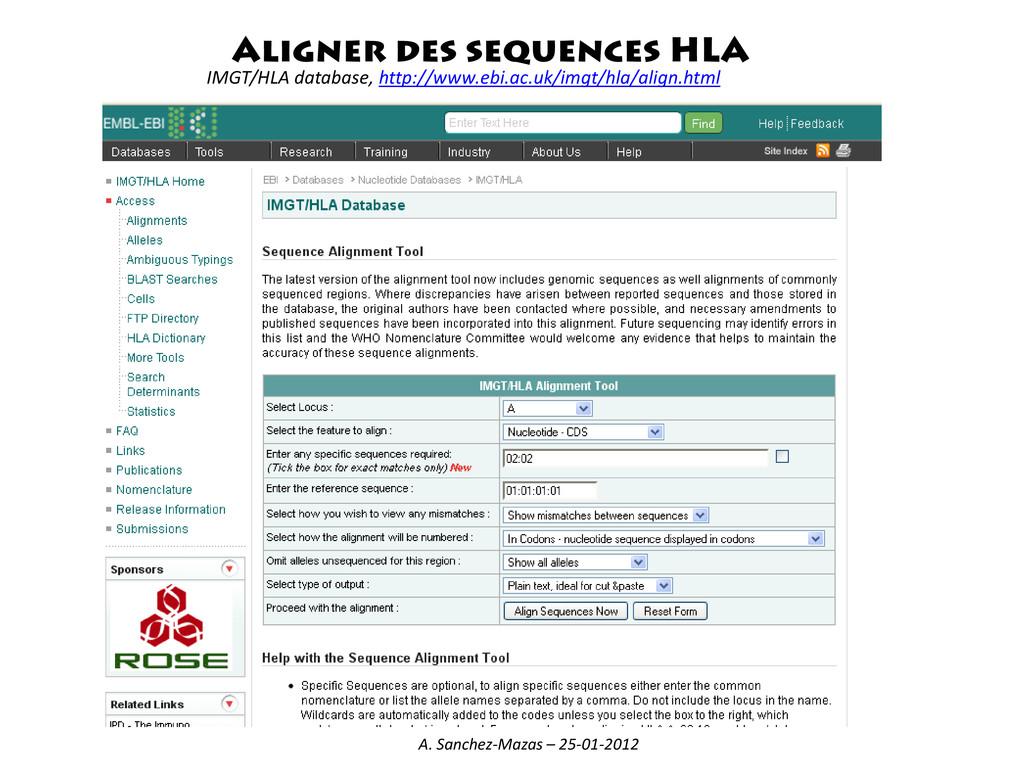 Aligner des sequences HLA IMGT/HLA database, ht...
