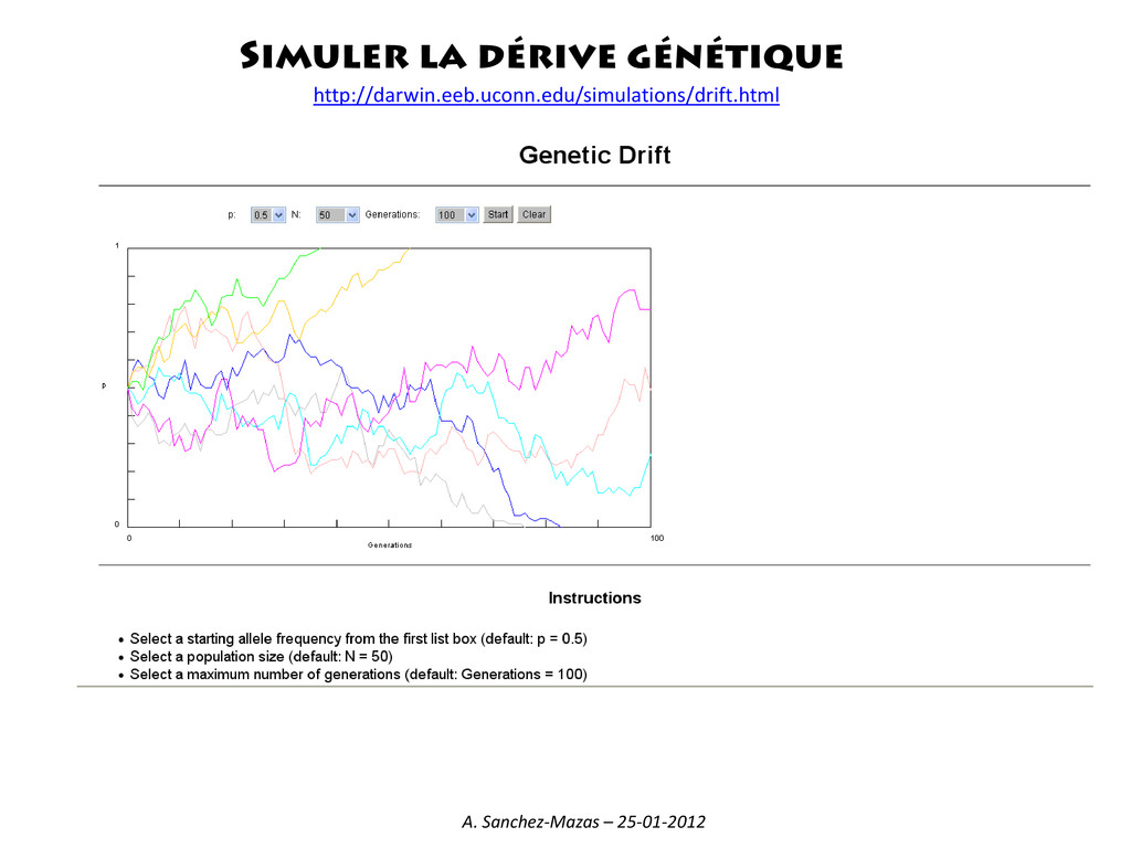 Simuler la dérive génétique http://darwin.eeb.u...