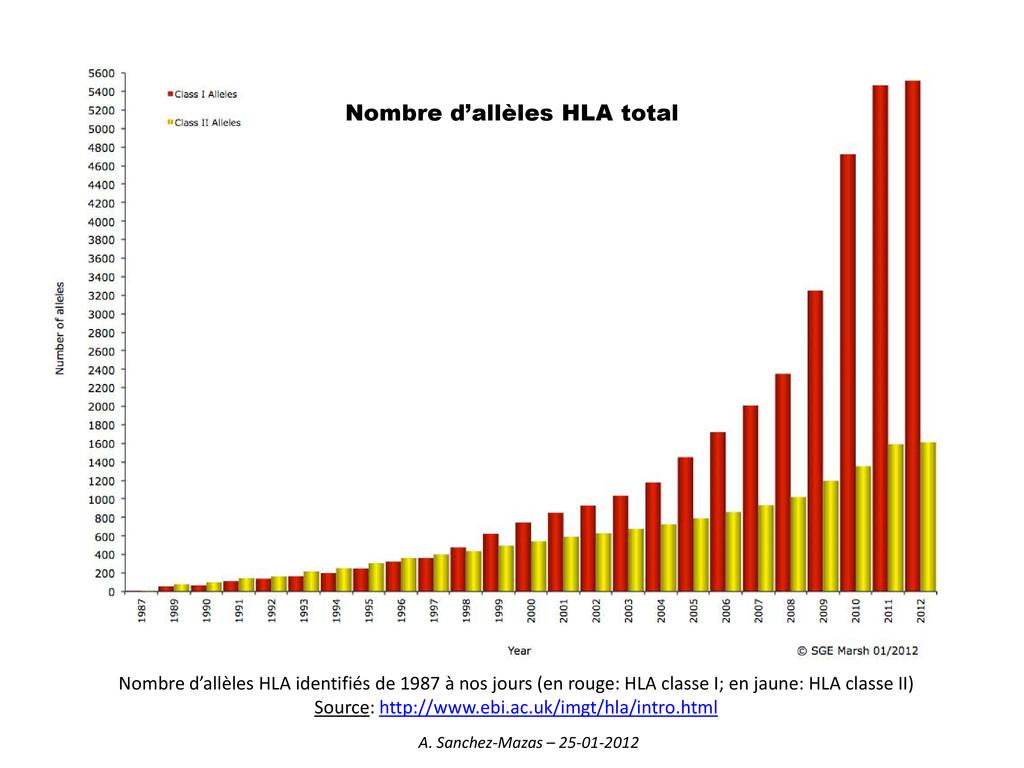 Nombre d'allèles HLA identifiés de 1987 à nos j...