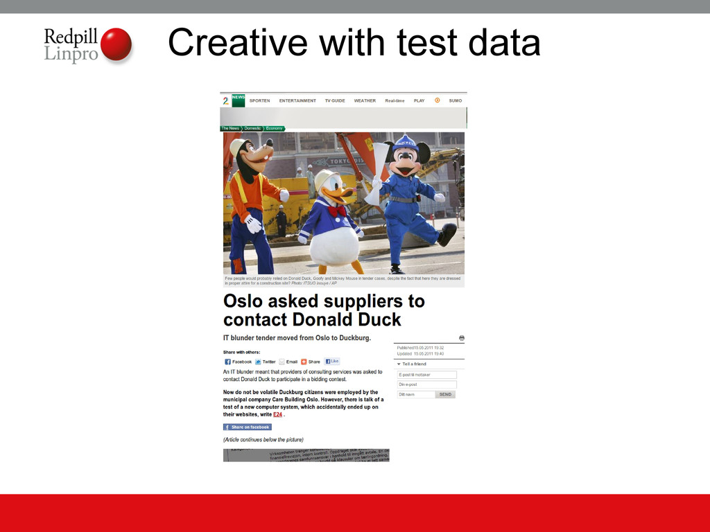 Creative with test data