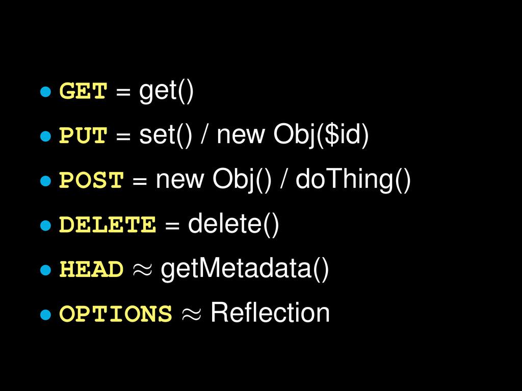 • GET = get() • PUT = set() / new Obj($id) • PO...