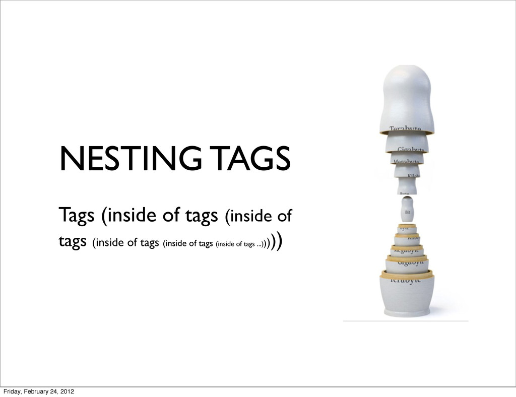NESTING TAGS Tags (inside of tags (inside of ta...