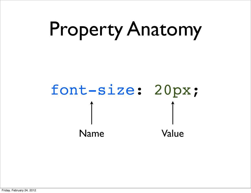 Property Anatomy font-size: 20px; Name Value Fr...