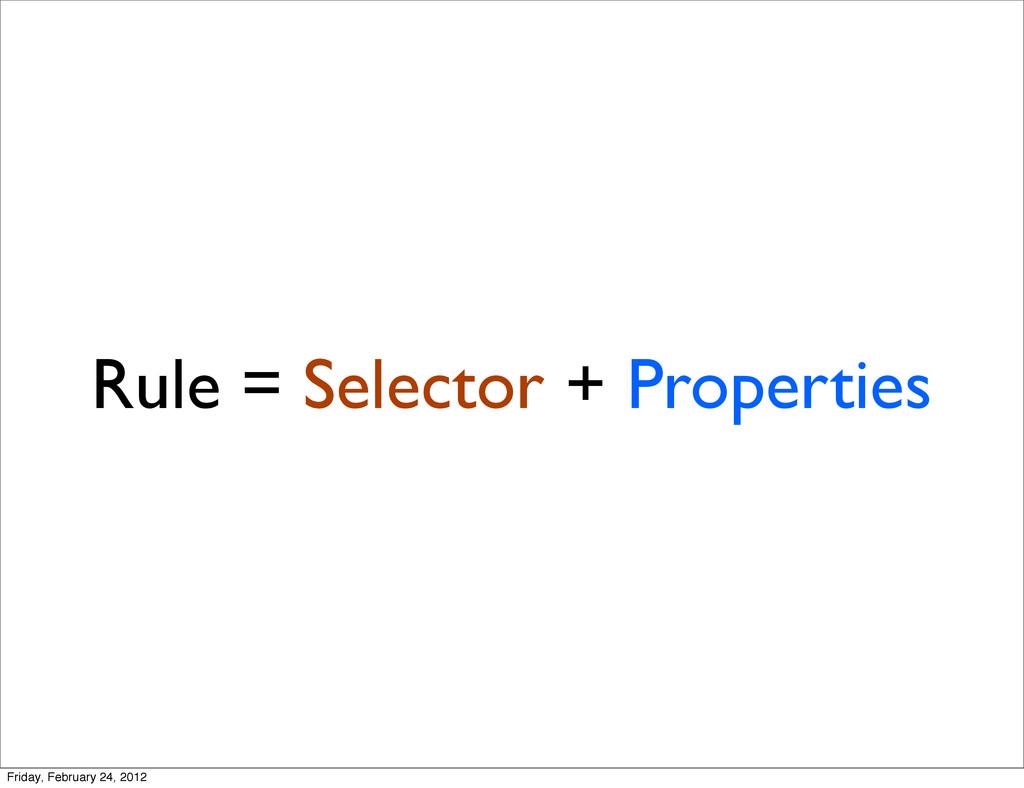 Rule = Selector + Properties Friday, February 2...
