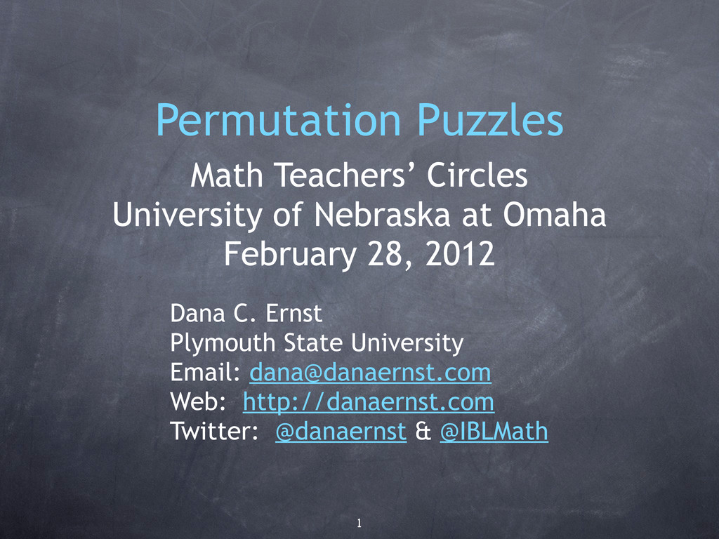 Permutation Puzzles Math Teachers' Circles Univ...