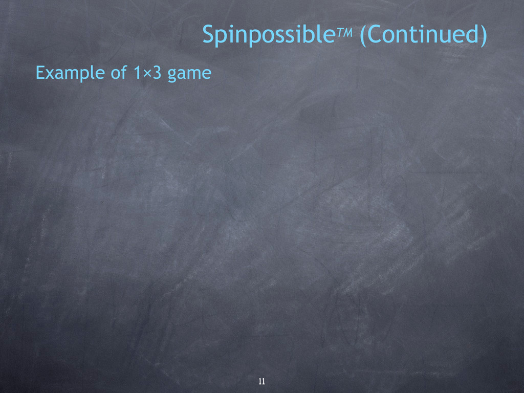 11 Example of 1×3 game SpinpossibleTM (Continue...