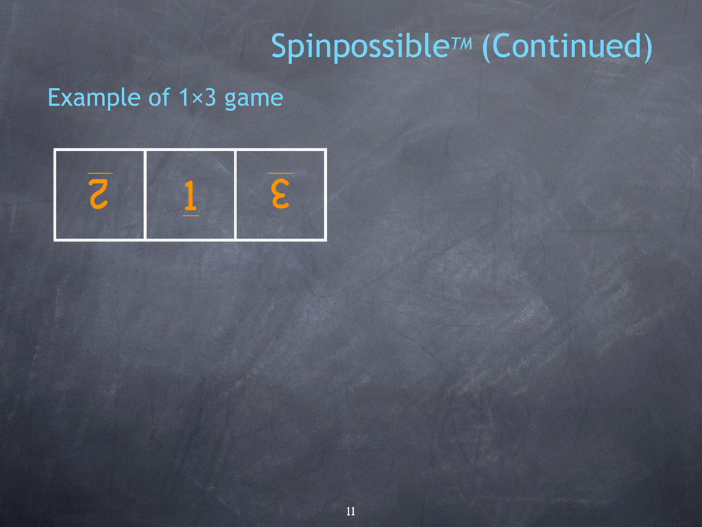 11 Example of 1×3 game 1 2 3 SpinpossibleTM (Co...