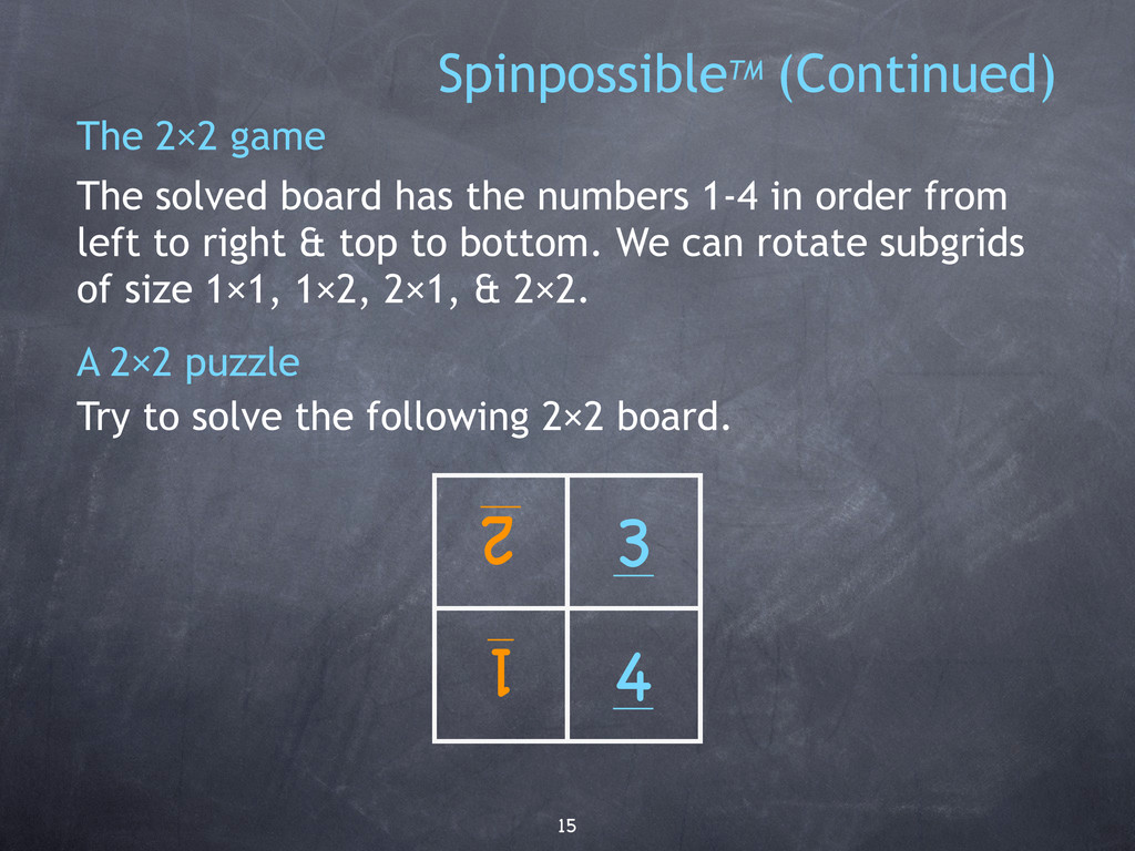 15 The 2×2 game The solved board has the number...