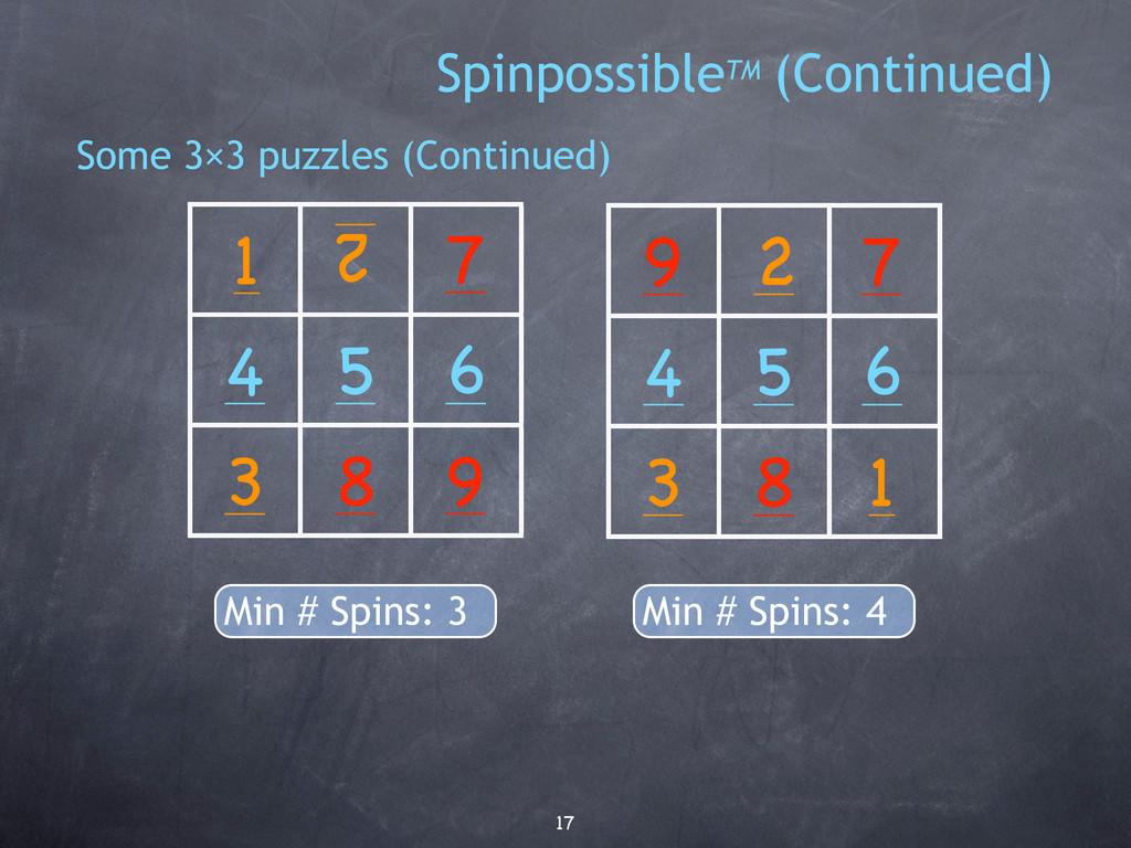 17 3 6 2 4 5 1 7 8 9 Min # Spins: 4 2 1 7 3 6 4...