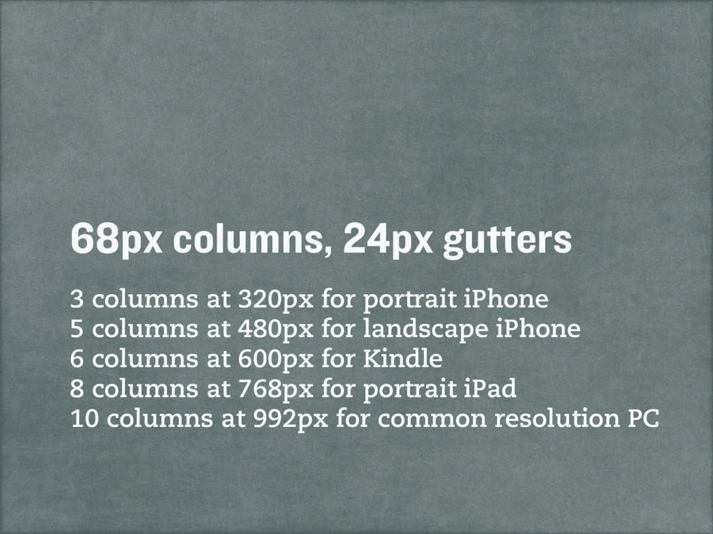 3 columns at 320px for portrait iPhone 5 column...