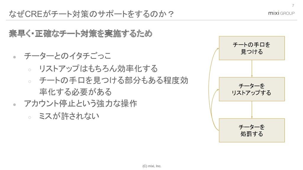(C) mixi, Inc. 素早く・正確なチート対策を実施するため ● チーターとのイタチご...