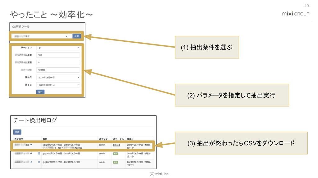 (C) mixi, Inc. やったこと 〜効率化〜 10 (1) 抽出条件を選ぶ (2) パ...