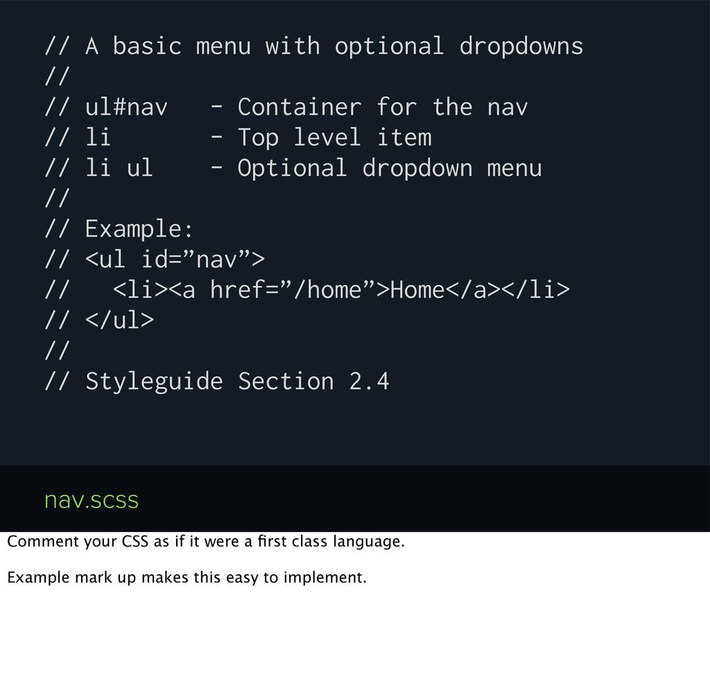 // A basic menu with optional dropdowns // // u...