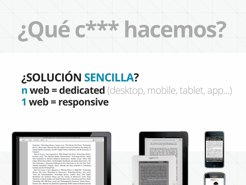 ¿Qué c*** hacemos? ¿SOLUCIÓN SENCILLA? n web = ...