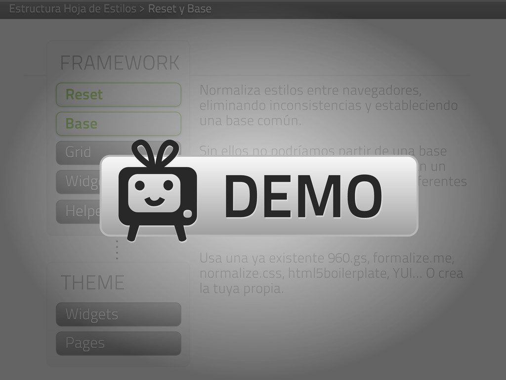 FRAMEWORK Reset Grid Helpers THEME Widgets Page...
