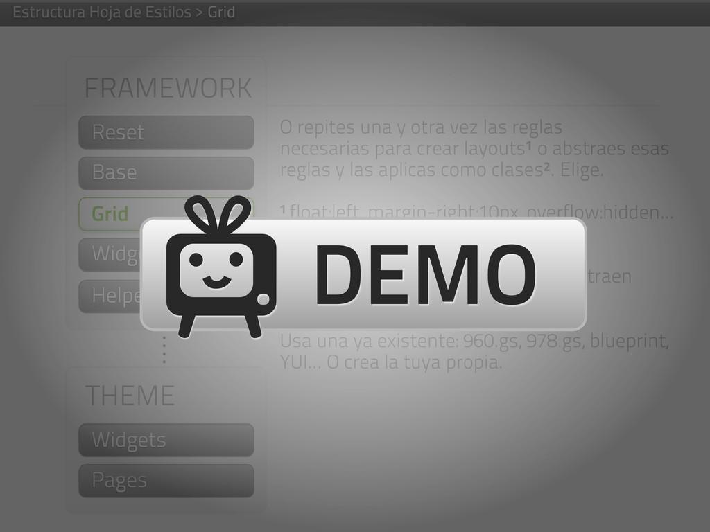 FRAMEWORK Helpers THEME Widgets Pages Widgets O...