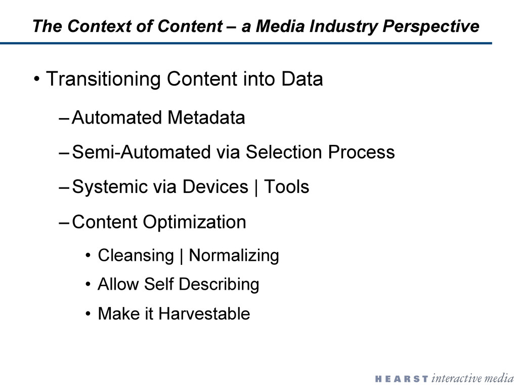 •  Transitioning Content into Data – Automated ...