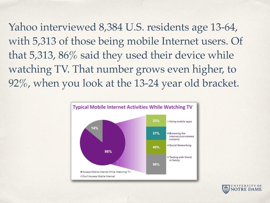 Yahoo interviewed 8,384 U.S. residents age 13-6...