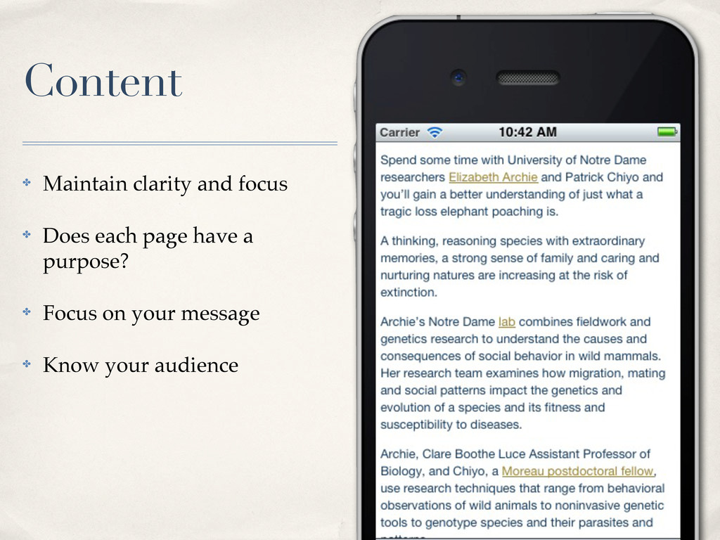Content ✤ Maintain clarity and focus ✤ Does eac...