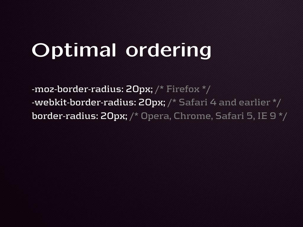 Optimal ordering -moz-border-radius: 20px; /* F...