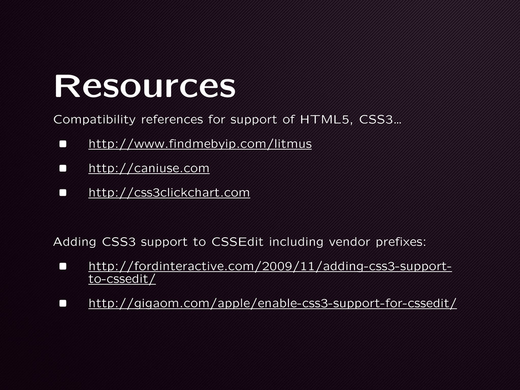 Resources Compatibility references for support ...