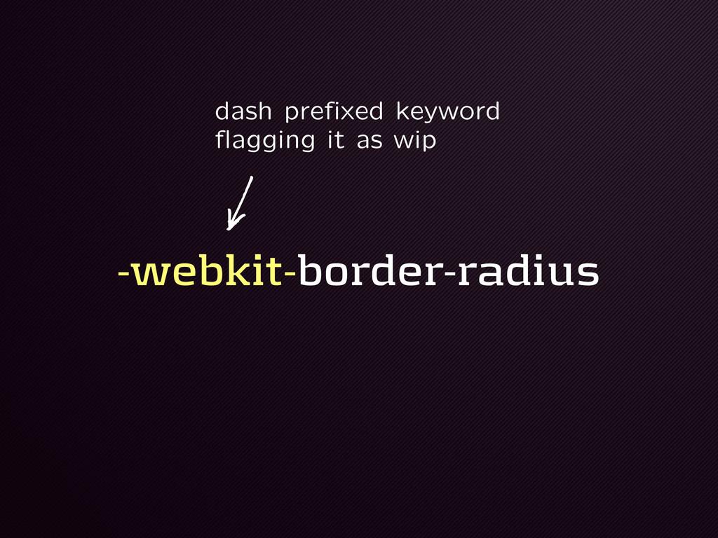 -webkit-border-radius dash prefixed keyword fla...