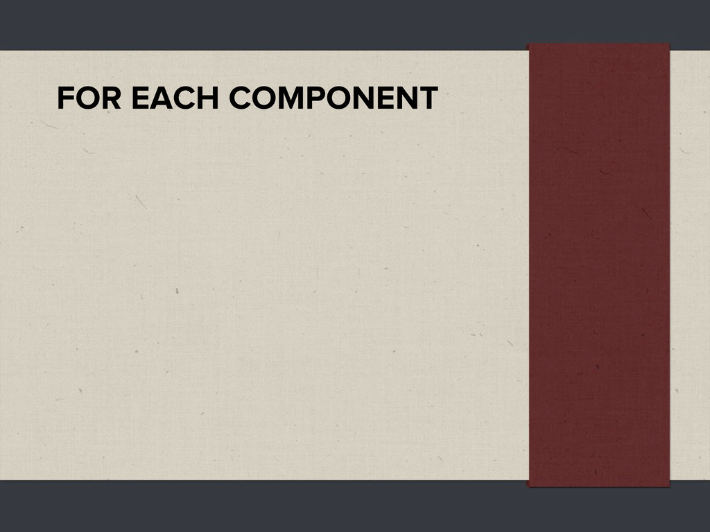 FOR EACH COMPONENT