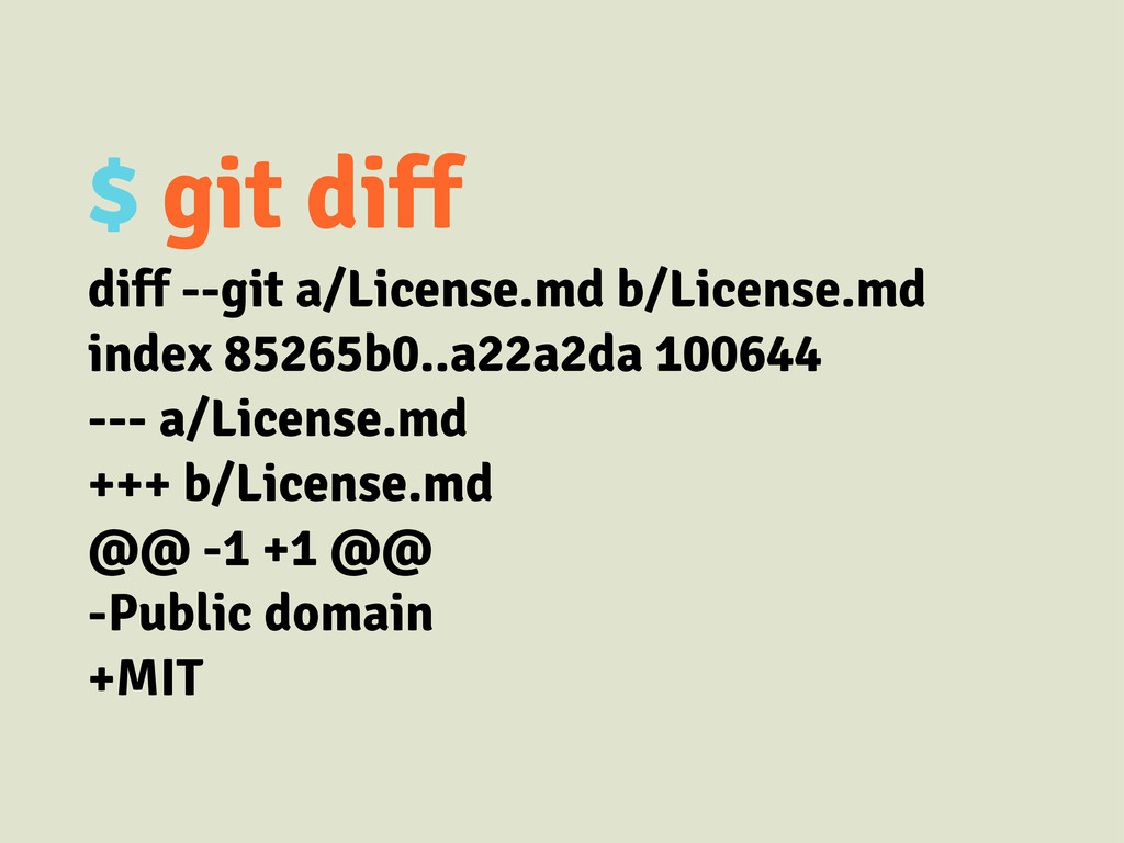 $ git diff diff --git a/License.md b/License.md...